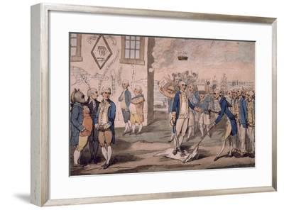 Admiral George Rodney Trampling on French Flag after Victory at Battle of the Saintes--Framed Giclee Print