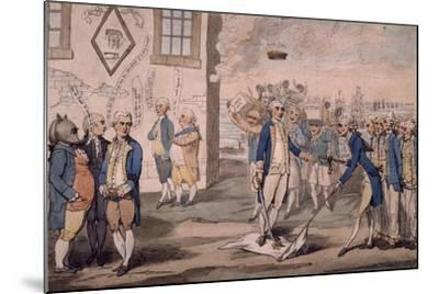 Admiral George Rodney Trampling on French Flag after Victory at Battle of the Saintes--Mounted Giclee Print