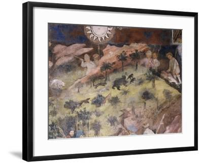 Bear Hunting, Detail from Month of November, Panel Taken from Cycle of Months--Framed Giclee Print