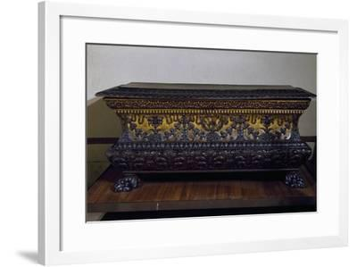 Sarcophagus Form Wedding Chest in Golden Walnut with Lions Claw Feet, Made in Rome, Italy--Framed Giclee Print