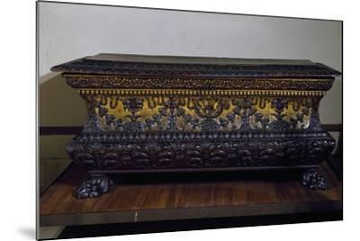 Sarcophagus Form Wedding Chest in Golden Walnut with Lions Claw Feet, Made in Rome, Italy--Mounted Giclee Print
