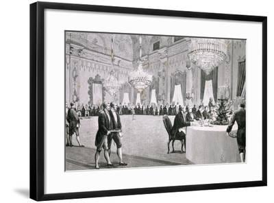 Dinner Given by King Victor Emmanuel Ii for Representatives of Both Houses, March 18, 1877--Framed Giclee Print