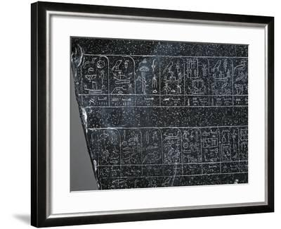 Detail of Ancient Egyptian Stele Inscribed on Both Sides with List of Ancient Egyptian Kings--Framed Giclee Print