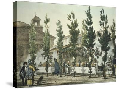 Italy, Rome, Pantheon Street Food Vendors by Antoine Jean-Baptiste Thomas--Stretched Canvas Print