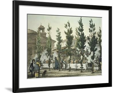 Italy, Rome, Pantheon Street Food Vendors by Antoine Jean-Baptiste Thomas--Framed Giclee Print