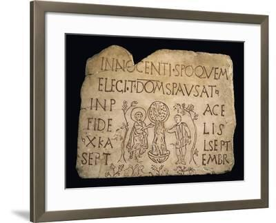 Tombstone with Inscription and the Baptism of Christ, Early Christian Period, 3rd Century--Framed Giclee Print