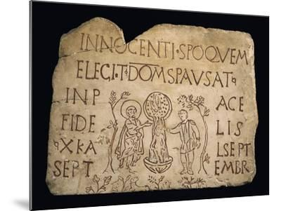 Tombstone with Inscription and the Baptism of Christ, Early Christian Period, 3rd Century--Mounted Giclee Print