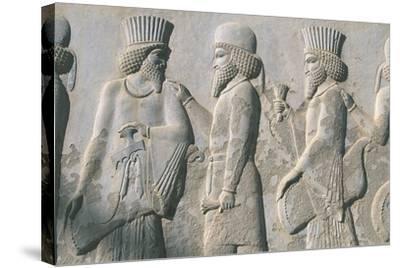 Iran, Persepolis, Reception Hall 'Apadana', Relief of Dignitaries--Stretched Canvas Print