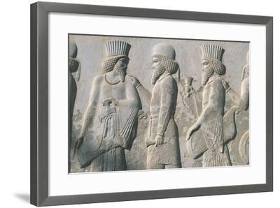 Iran, Persepolis, Reception Hall 'Apadana', Relief of Dignitaries--Framed Giclee Print