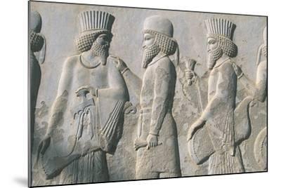 Iran, Persepolis, Reception Hall 'Apadana', Relief of Dignitaries--Mounted Giclee Print