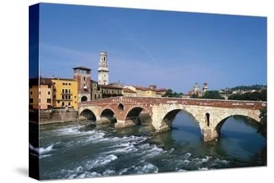 Italy, Veneto, Verona, Ponte Di Pietra on River Adige--Stretched Canvas Print
