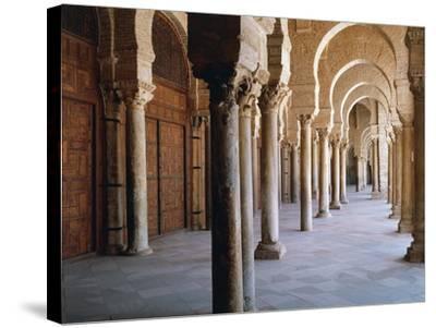 Tunisia, Kairouan Governorate, Kairouan, Kairouan Great Mosque, Colonnade--Stretched Canvas Print