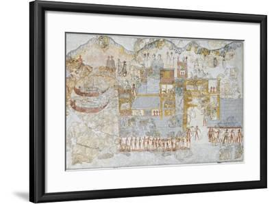 Miniature Fresco Depicting a Naval Fleet Leaving Dock, from the West House of Thera or Santorini--Framed Giclee Print