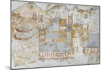 Miniature Fresco Depicting a Naval Fleet Leaving Dock, from the West House of Thera or Santorini--Mounted Giclee Print