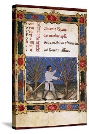 Work in the Fields, Miniature from Opificium Beatae Mariae Virginis, Latin Manuscript--Stretched Canvas Print
