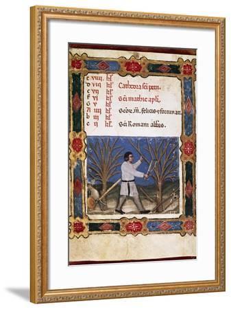 Work in the Fields, Miniature from Opificium Beatae Mariae Virginis, Latin Manuscript--Framed Giclee Print