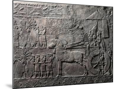 Detail of Relief Depicting Triumph of King Ashurbanipal, from Ancient Nineveh, Iraq--Mounted Giclee Print