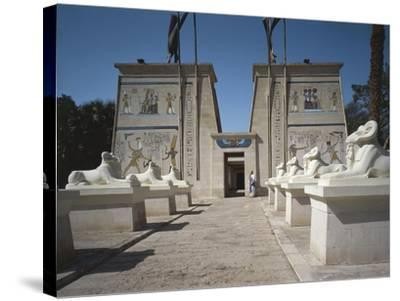 Egypt, Cairo, Replicated Temple and Ram-Headed Sphinxes at Pharaonic Village--Stretched Canvas Print