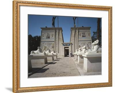 Egypt, Cairo, Replicated Temple and Ram-Headed Sphinxes at Pharaonic Village--Framed Giclee Print