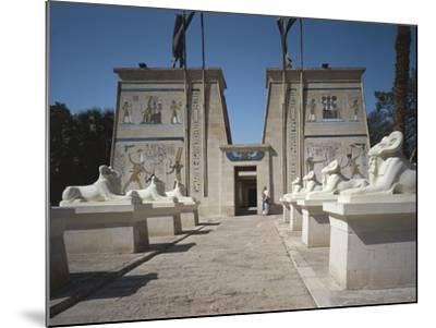 Egypt, Cairo, Replicated Temple and Ram-Headed Sphinxes at Pharaonic Village--Mounted Giclee Print