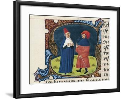 Doctor with Student, Miniature from the Treaty of Medicine--Framed Giclee Print