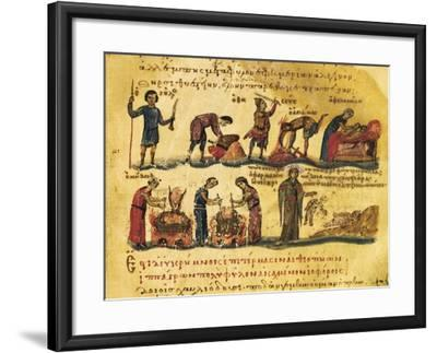 Peasants Lives, Miniature from Treaty on Hunting and Fishing, Manuscript, Greece 11th Century--Framed Giclee Print