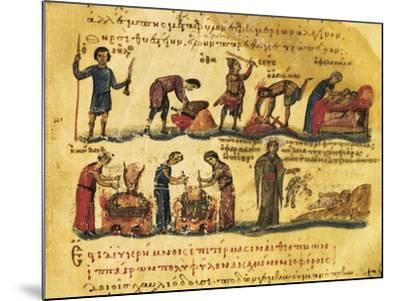 Peasants Lives, Miniature from Treaty on Hunting and Fishing, Manuscript, Greece 11th Century--Mounted Giclee Print