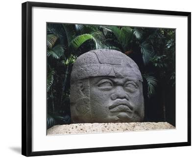 Olmec Civilization, Colossal Stone Head of a Warrior, 1100-475 B.C.--Framed Giclee Print