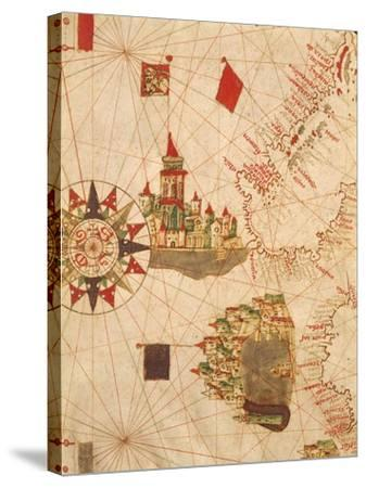Detail of Venice and Genoa, from Navigational Map, Plate, 16th Century--Stretched Canvas Print