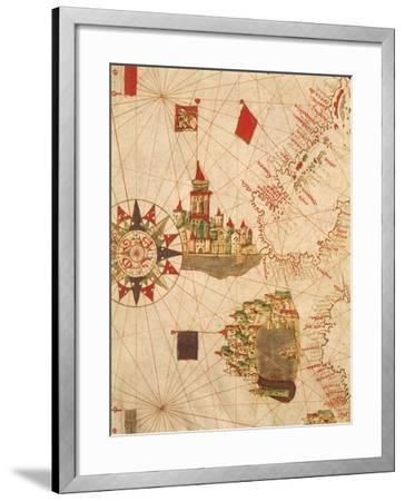 Detail of Venice and Genoa, from Navigational Map, Plate, 16th Century--Framed Giclee Print