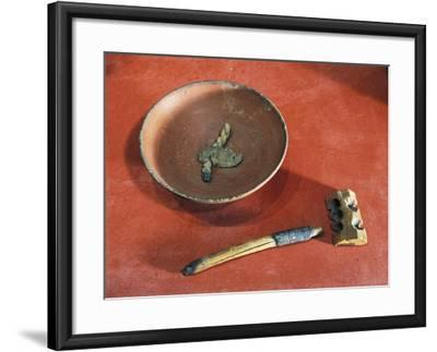 Funerary Objects from the Western Cemetery of Qurnet Murai, Terracotta Lamp, Wood Lighter, Matches--Framed Giclee Print