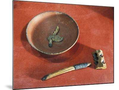 Funerary Objects from the Western Cemetery of Qurnet Murai, Terracotta Lamp, Wood Lighter, Matches--Mounted Giclee Print