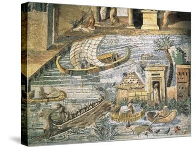 Italy, Lazio, Palestrina, Sanctuary at Praeneste, Depicting a Sailing Scene Along the Nile--Stretched Canvas Print