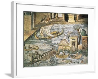 Italy, Lazio, Palestrina, Sanctuary at Praeneste, Depicting a Sailing Scene Along the Nile--Framed Giclee Print