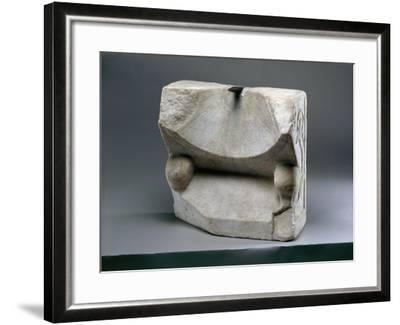 Marble Sundial Decorated with Feline Paws, and Vegetable Motif in Relief--Framed Giclee Print