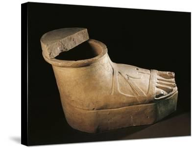 Italy, Calabria, Sarcophagus in the Shape of a Feet Wearing a Buskin, Terracotta--Stretched Canvas Print