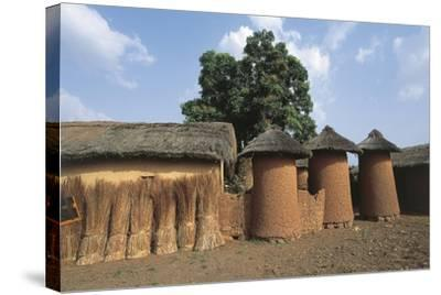 Côte D'Ivoire - Northern Senufo Area. Cylinder Granaries at Nawalakaha--Stretched Canvas Print