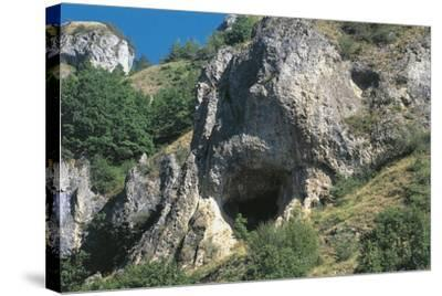 Italy, Piedmont Region, Stura Valley, Prehistoric Caves Near Aisone, Cuneo Province, Entrance--Stretched Canvas Print