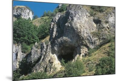 Italy, Piedmont Region, Stura Valley, Prehistoric Caves Near Aisone, Cuneo Province, Entrance--Mounted Giclee Print