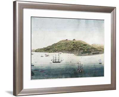 Japan, Nagasaki, Nagasaki City and Roads with Dutch Ships and Chinese and Japanese Junk Boats--Framed Giclee Print