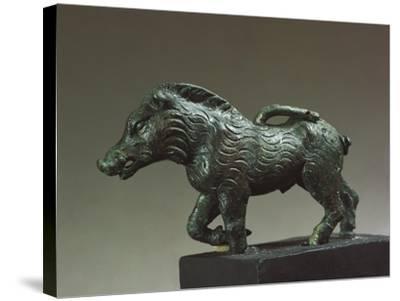 Italy, Emilia-Romagna, Velleia, Statuette Representing a Wild Boar, Bronze--Stretched Canvas Print