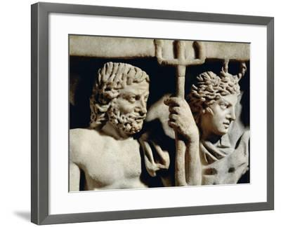Marble Sarcophagus, Relief Depicting Prometheus Myth, Detail, Faces of Neptune and Amphitrite--Framed Giclee Print