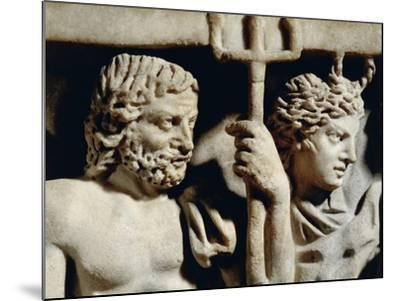 Marble Sarcophagus, Relief Depicting Prometheus Myth, Detail, Faces of Neptune and Amphitrite--Mounted Giclee Print