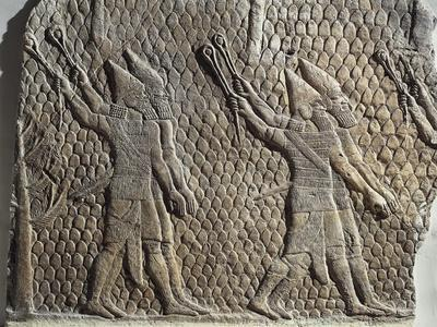 Scene with Assyrian Soldiers Armed with Slings, Relief from Royal Palaces of Nineveh--Framed Giclee Print