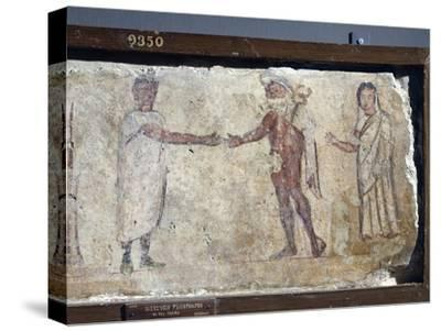 Ancient Roman Fresco Representing Funeral Procession: with Hermes Paying Caronte--Stretched Canvas Print