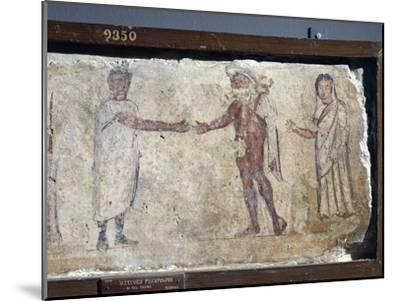 Ancient Roman Fresco Representing Funeral Procession: with Hermes Paying Caronte--Mounted Giclee Print