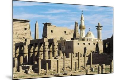 Egypt, Ancient Thebes Luxor, Temple of Amon, Ruins and Pylon of Ramses II in Background--Mounted Giclee Print
