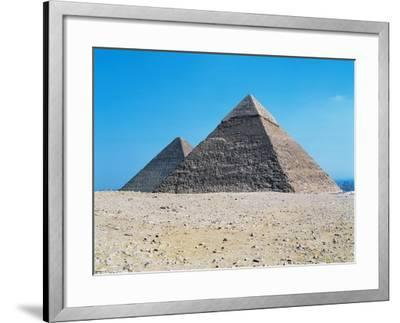 Egypt, Giza, Giza Pyramids, Pyramid of Chephren and Kheops Pyramid in the Background--Framed Giclee Print