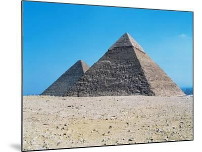 Egypt, Giza, Giza Pyramids, Pyramid of Chephren and Kheops Pyramid in the Background--Mounted Giclee Print