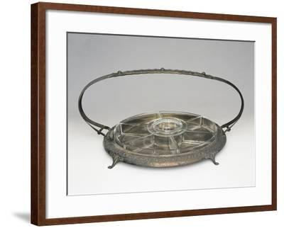 Crystal Hors D'Oeuvre Dish with Silver Stand--Framed Giclee Print